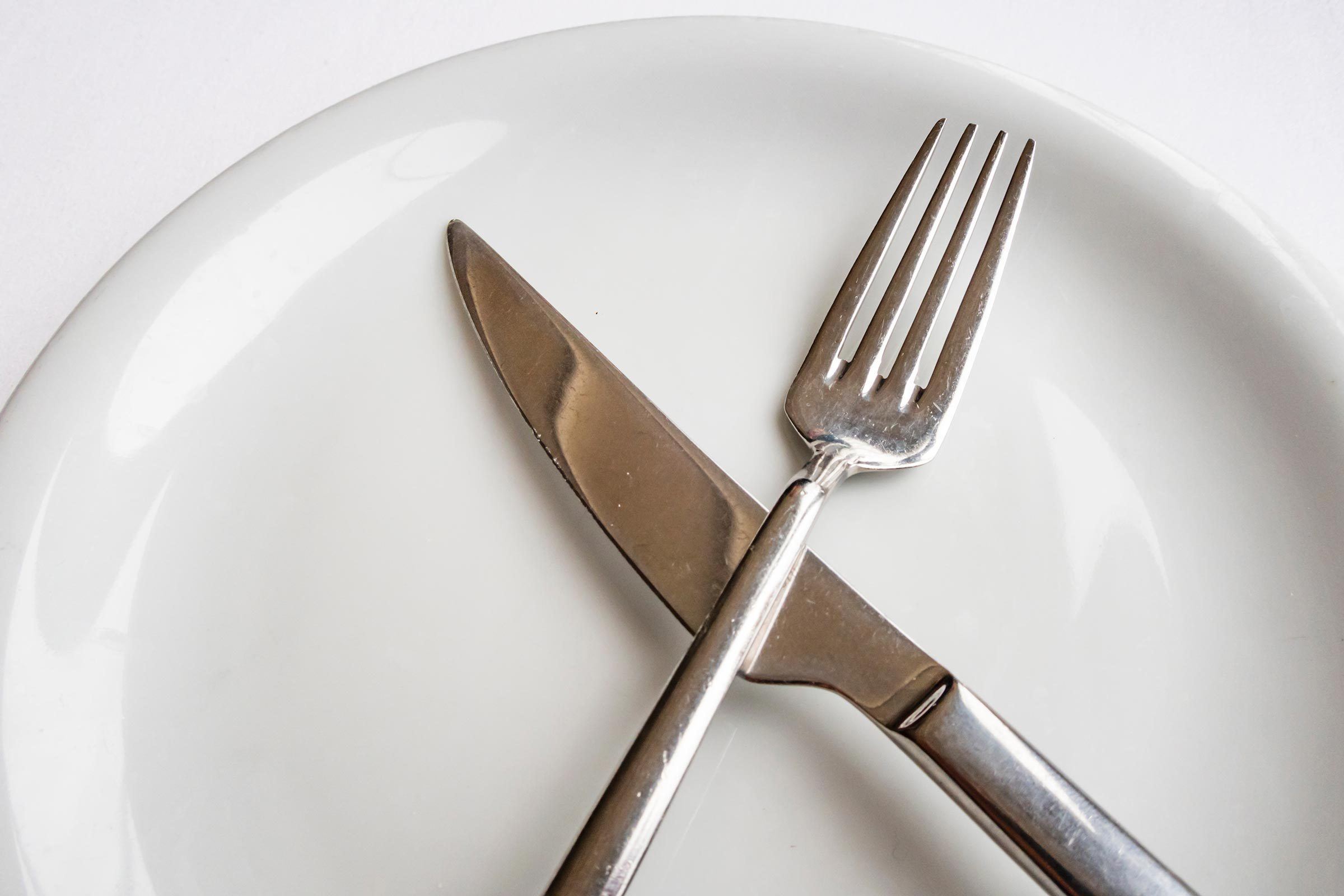 close up fork and knife on plate