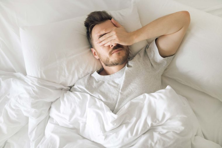 man can't sleep bed