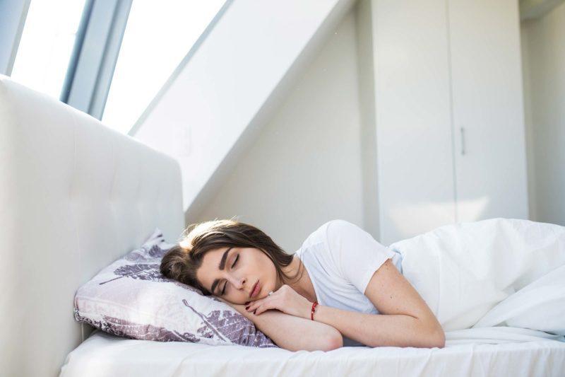 woman sleeping in bed