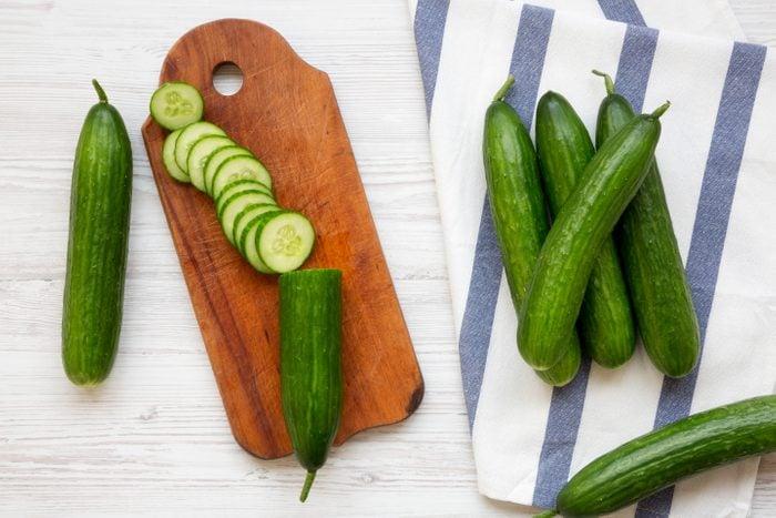 Fresh raw green cucumbers
