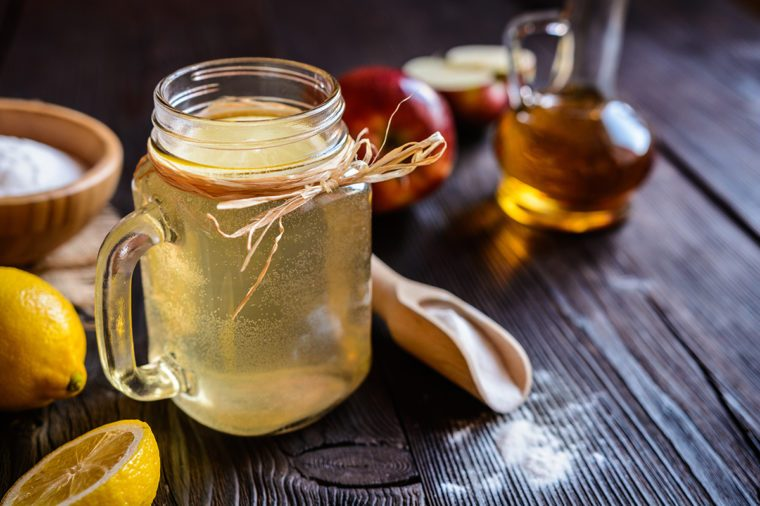 Detox drink made of water, apple cider vinegar, lemon juice and baking soda