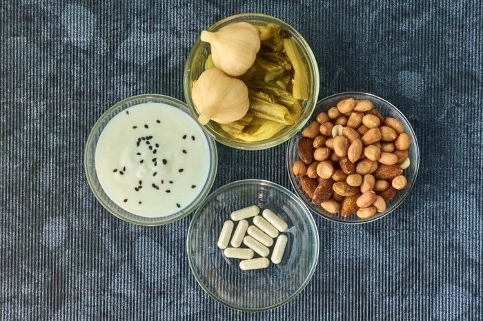 Probiotic active components like yogurt and supplements