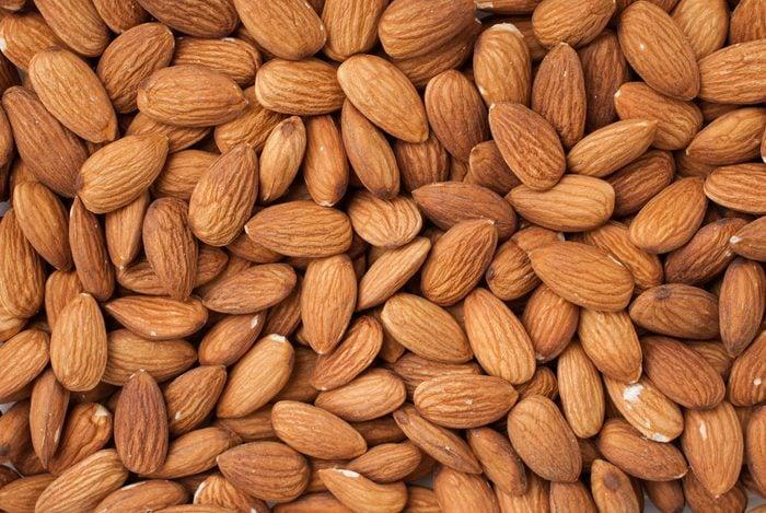 Peeled almonds closeup