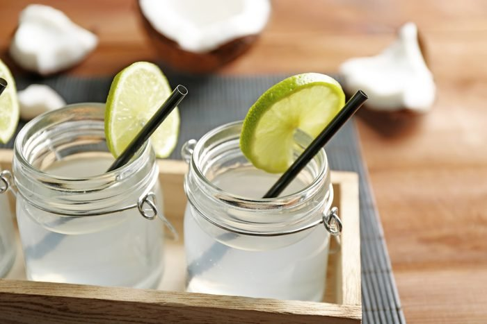 Set of mason jars with coconut water