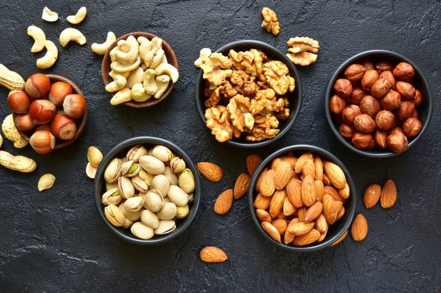 assortment of nuts in bowls