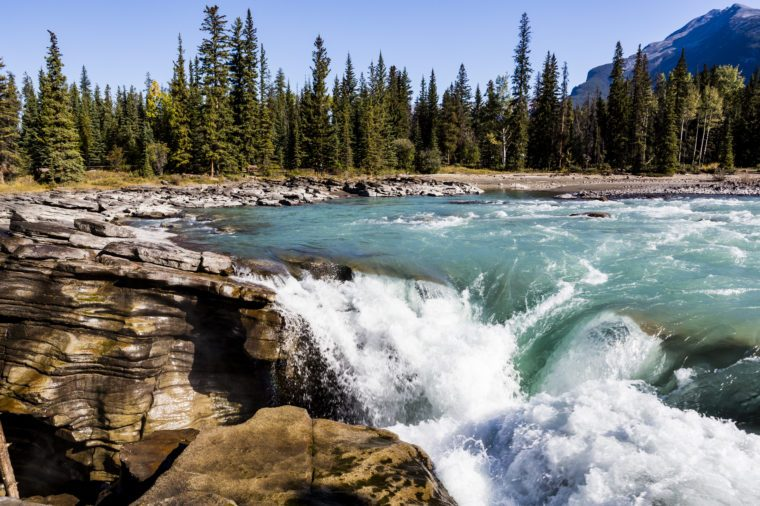 Athabasca Falls is a waterfall in Jasper National Park on the upper Athabasca River, approximately 30 kilometres south of the townsite of Jasper, Alberta, Canada, just west of the Icefields Parkway.