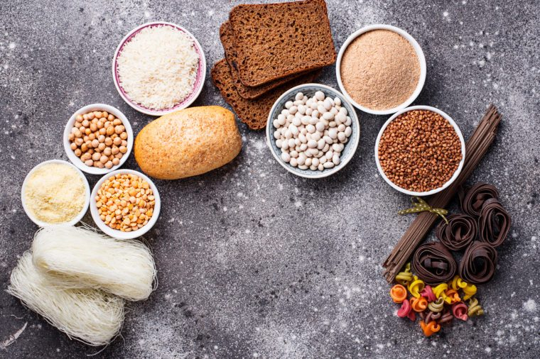 Set of gluten free products. Grains, noodles and bread