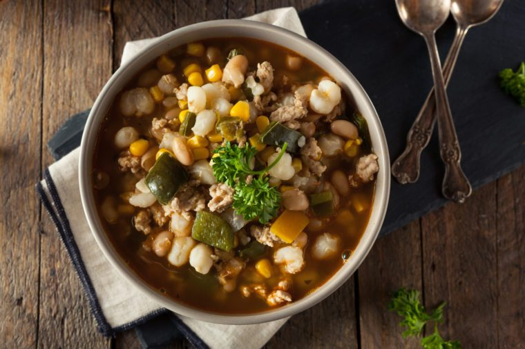 Hot Homemade White Bean Chicken Chili with Peppers and Corn