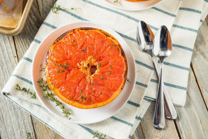 Sweet Homemade Baked Red Grapefruits with Honey and Thyme