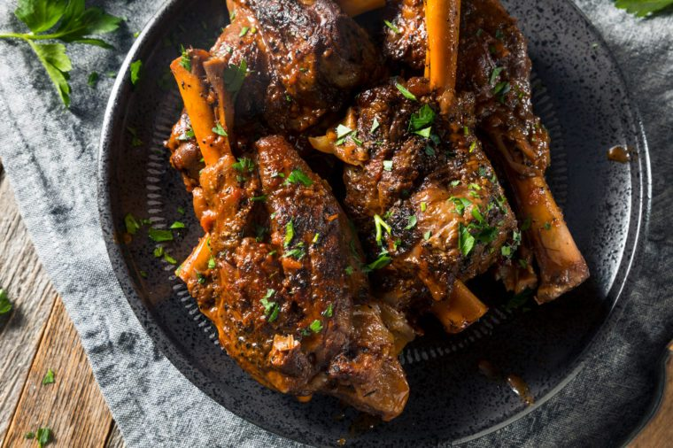 Homemade Braised Lamb Shanks with Sauce and Herbs