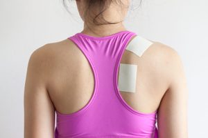 Neck and shoulder pain after exercise and training, office syndome for worker pain patch