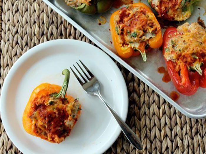 Enchilada Chicken Quinoa Stuffed Bell Peppers