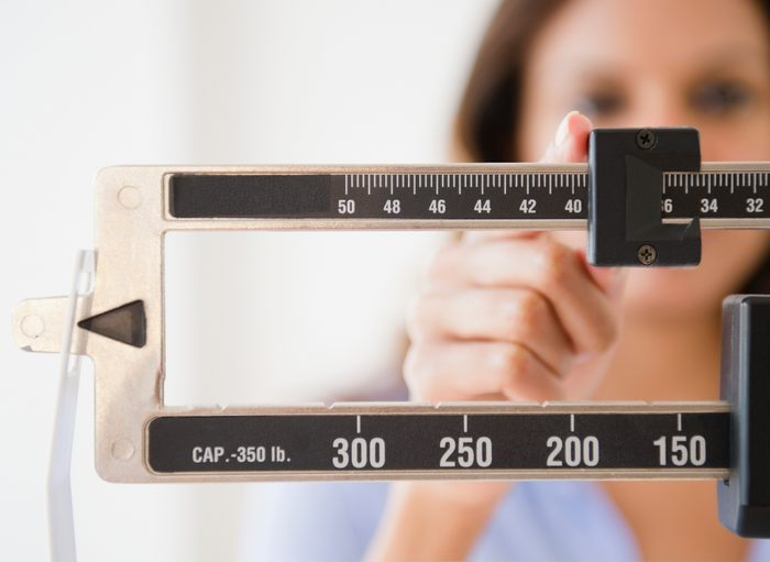 close up of weight scale