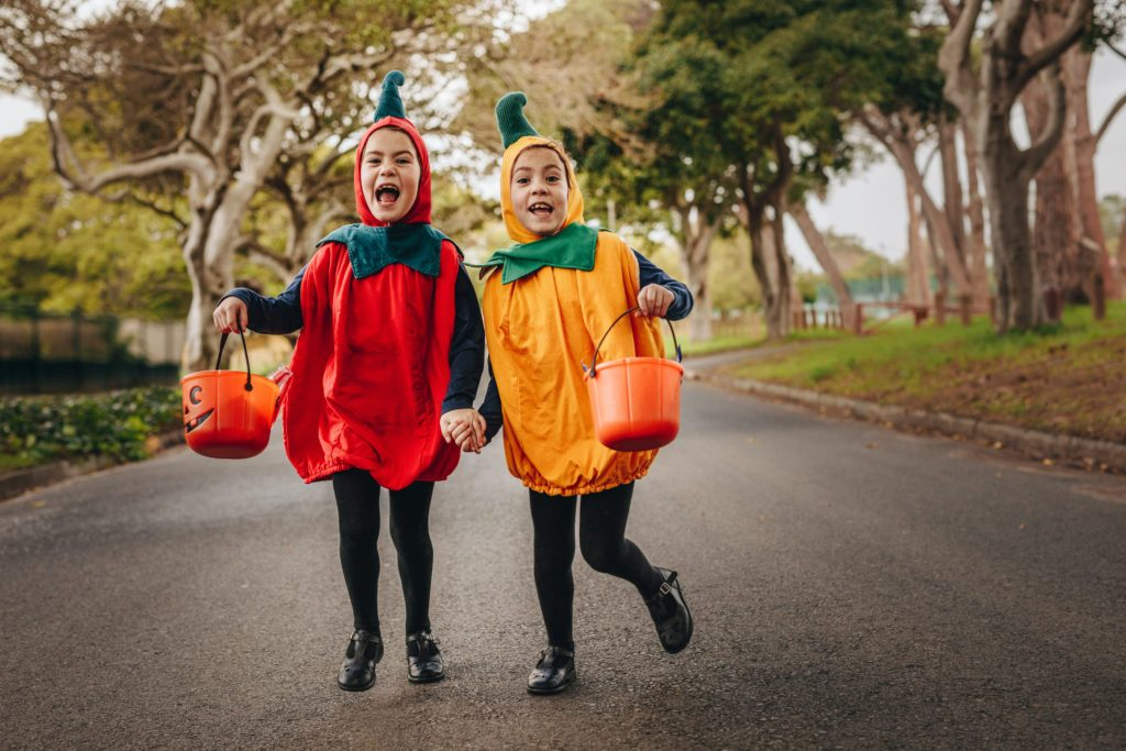 halloween children trick or treating