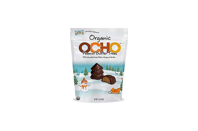 OCHO CANDY ORGANIC PEANUT BUTTER CHOCOLATE CHRISTMAS TREES