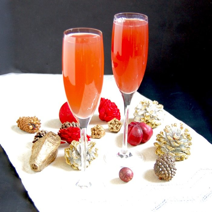 Pomegranate French 75 cocktail mocktail