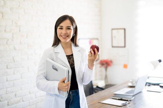 nutritionist woman apple healthy diet