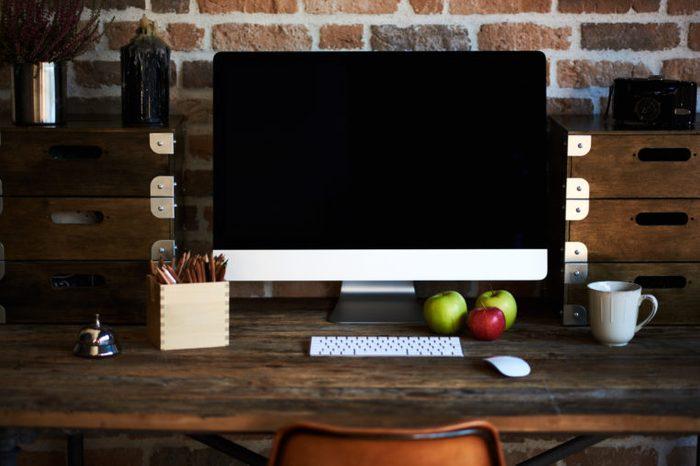 work desk healthy fruit computer