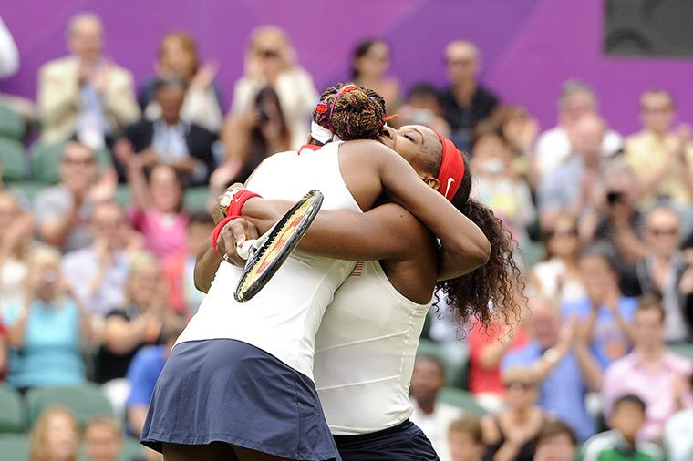 Serena Williams and Venus Williams win Olympic Doubles Gold hug
