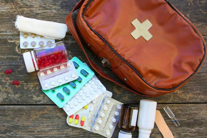 travel medication bag with medicine