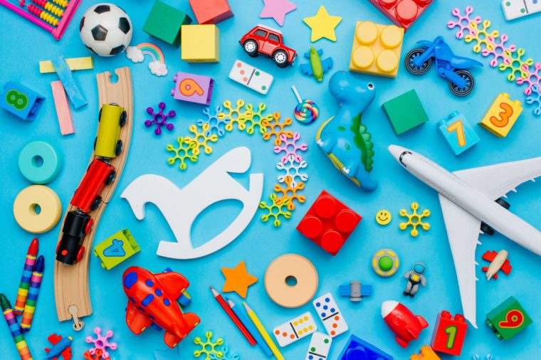children's toys on blue background