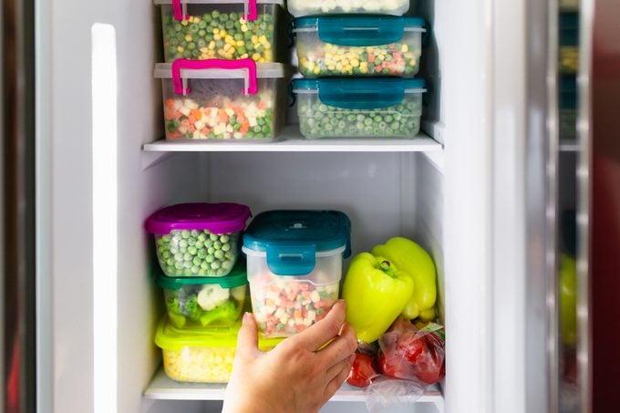 frozen foods in freezer