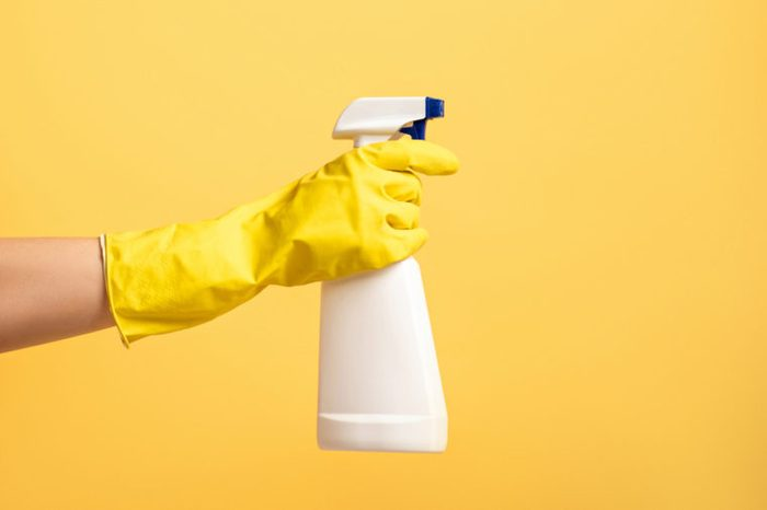 household cleaning product on yellow background