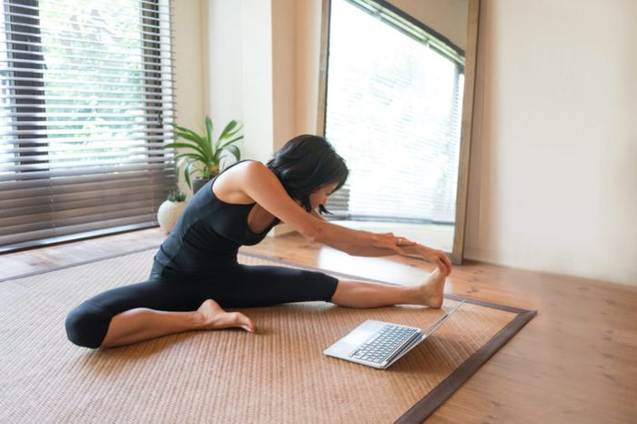 woman following online workout routine