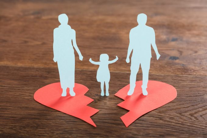 paper cut out of divorced couple and child in the middle