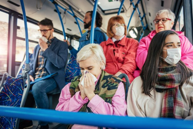 sick contagious people on bus