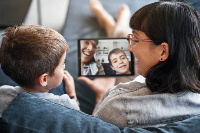 video chatting with family and friends