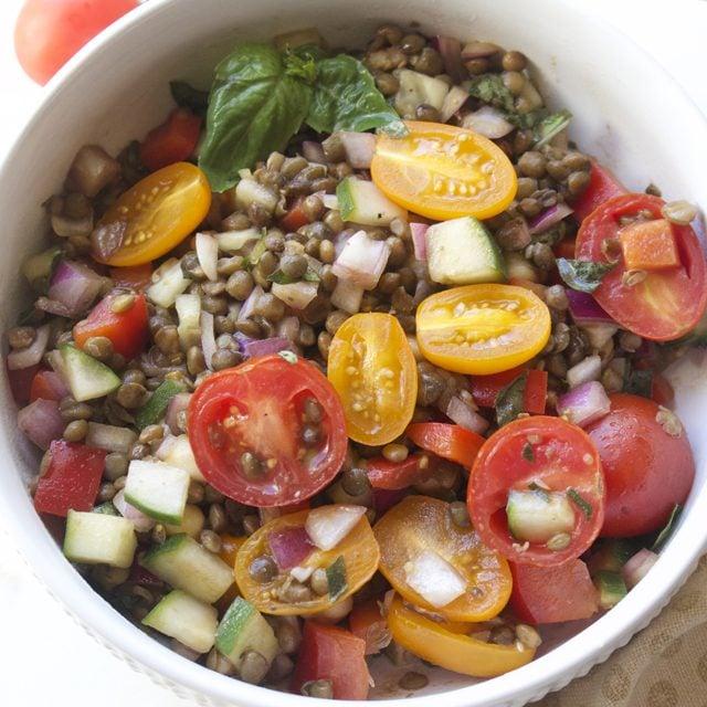 basil balsamic lentil salad recipe