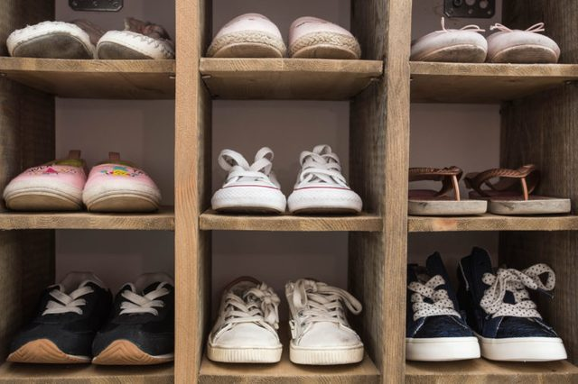 shoe organizer in entrance of home