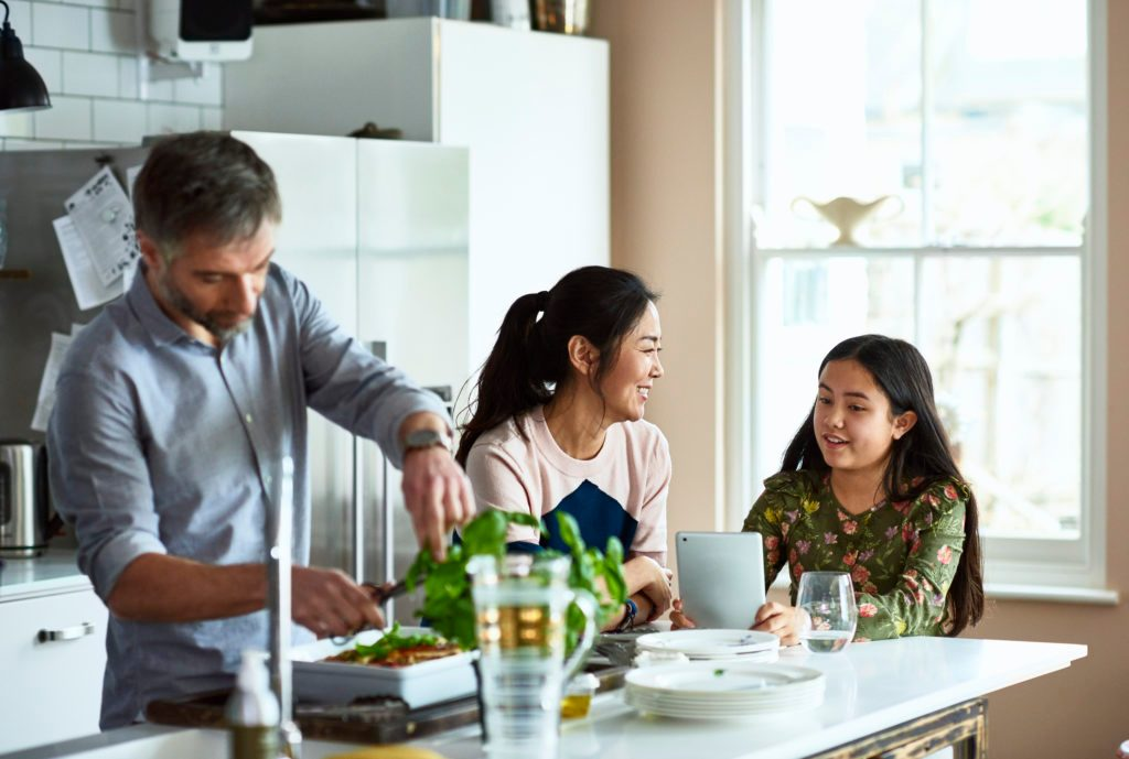 family in the kitchen at home