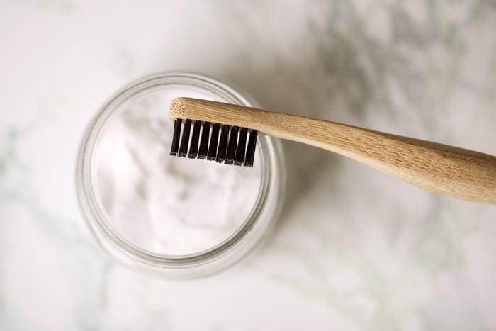 toothbrush and baking soda