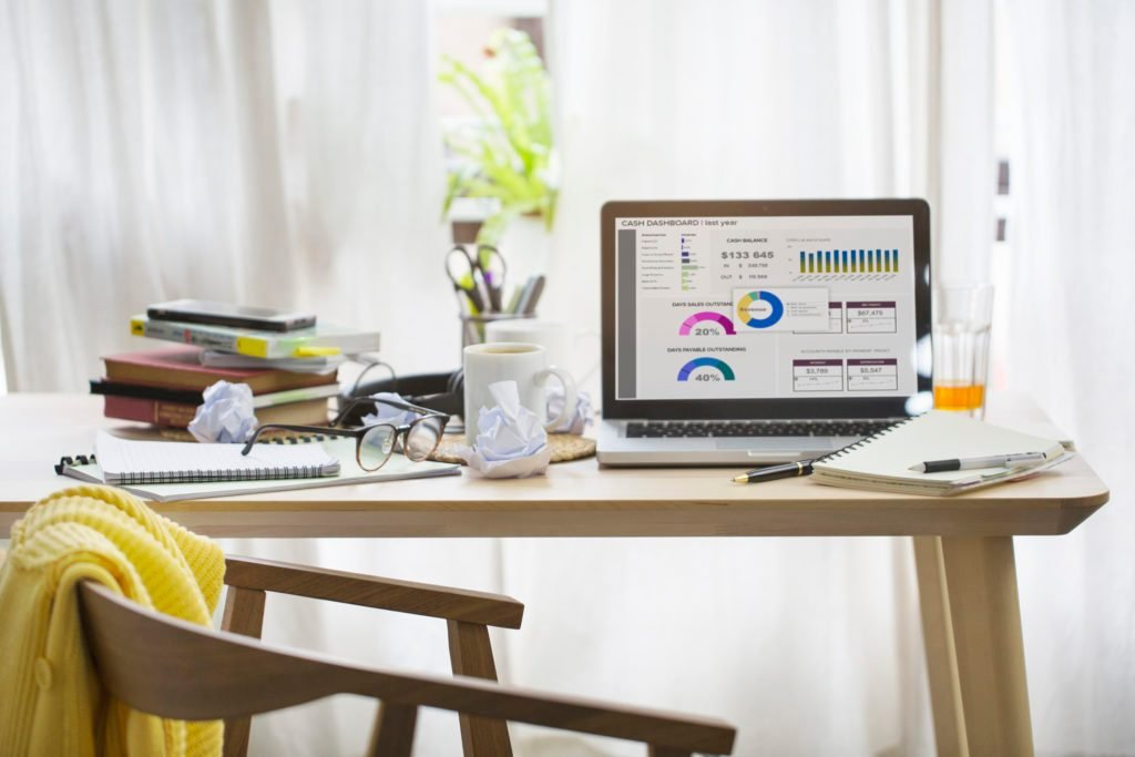 working from home desk and office space
