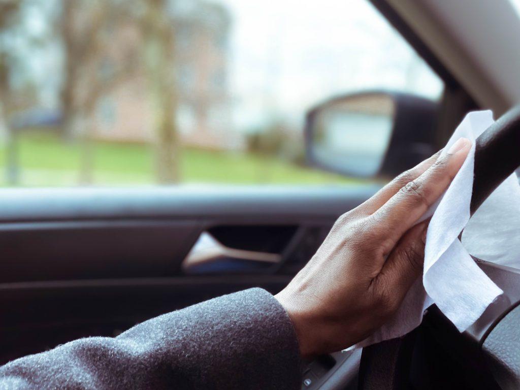 disinfecting steering wheel