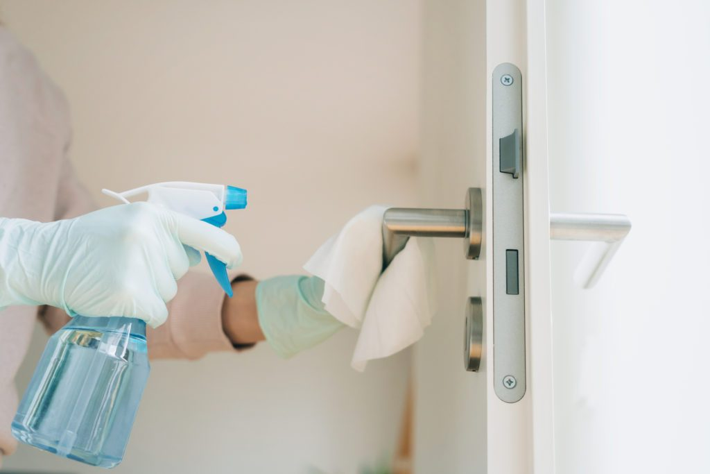 cleaning and disinfecting door handles in home