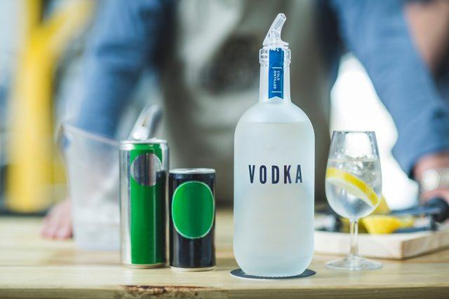 bottle of vodka on counter