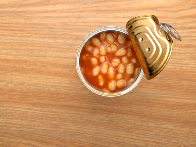 overhead shot of canned beans