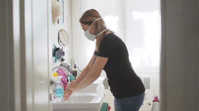 woman at home during coronavirus outbreak pandemic