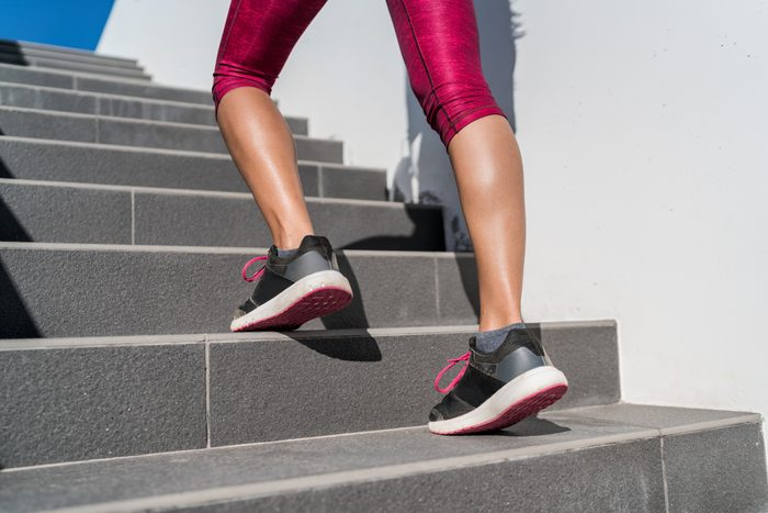 cropped shot of woman's legs during workout
