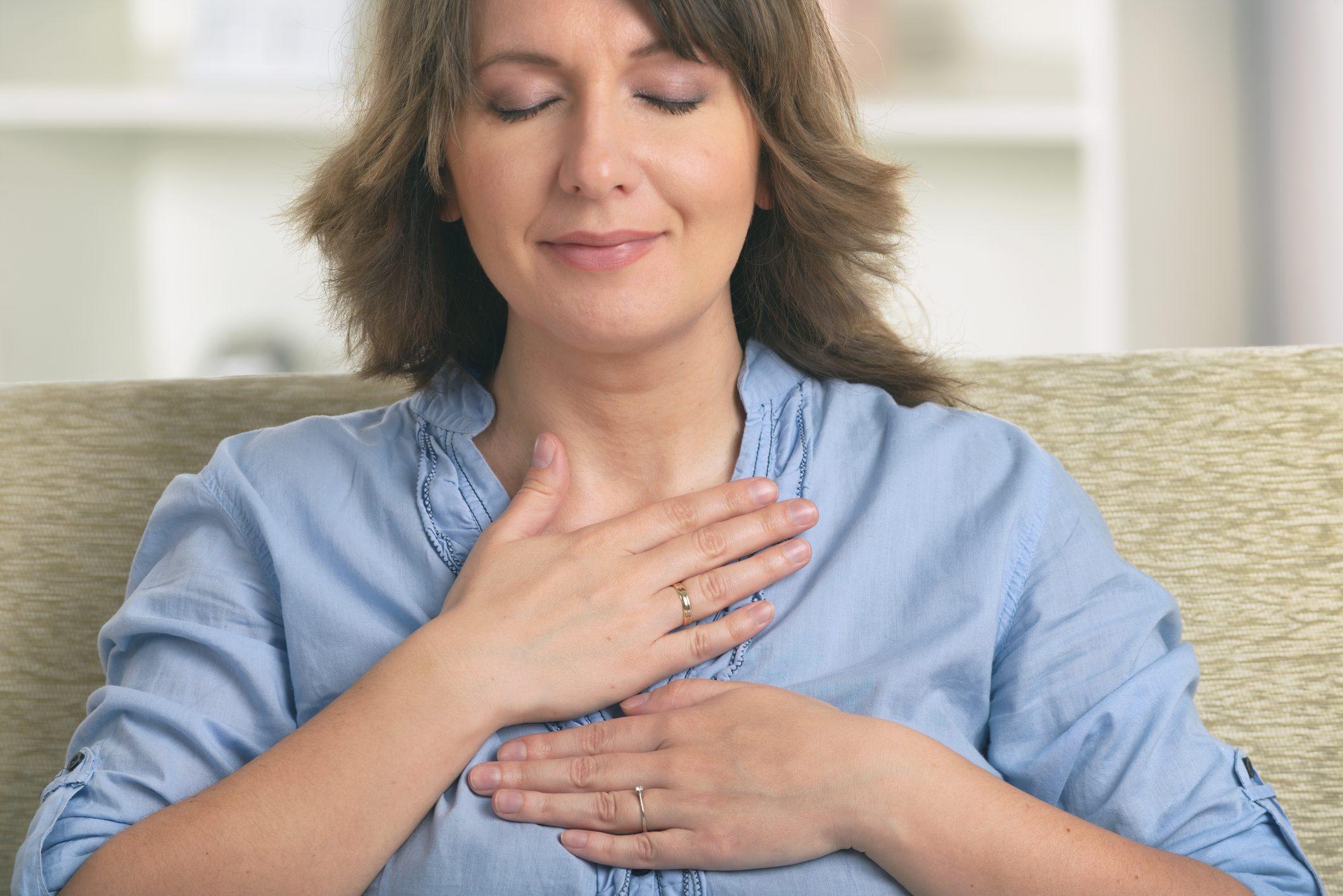 woman experiencing healing energy