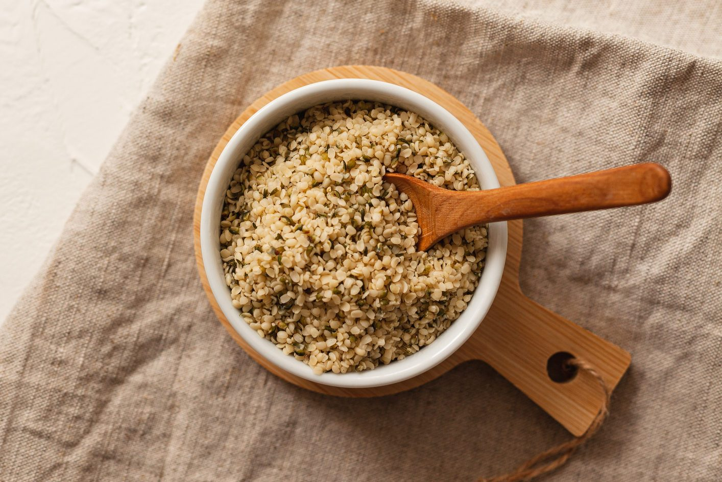 hemp seeds in bowl shot from above