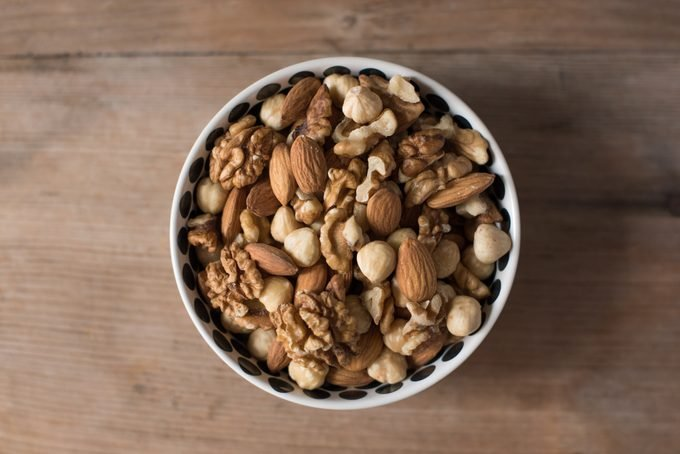 bowl of nuts shot from above