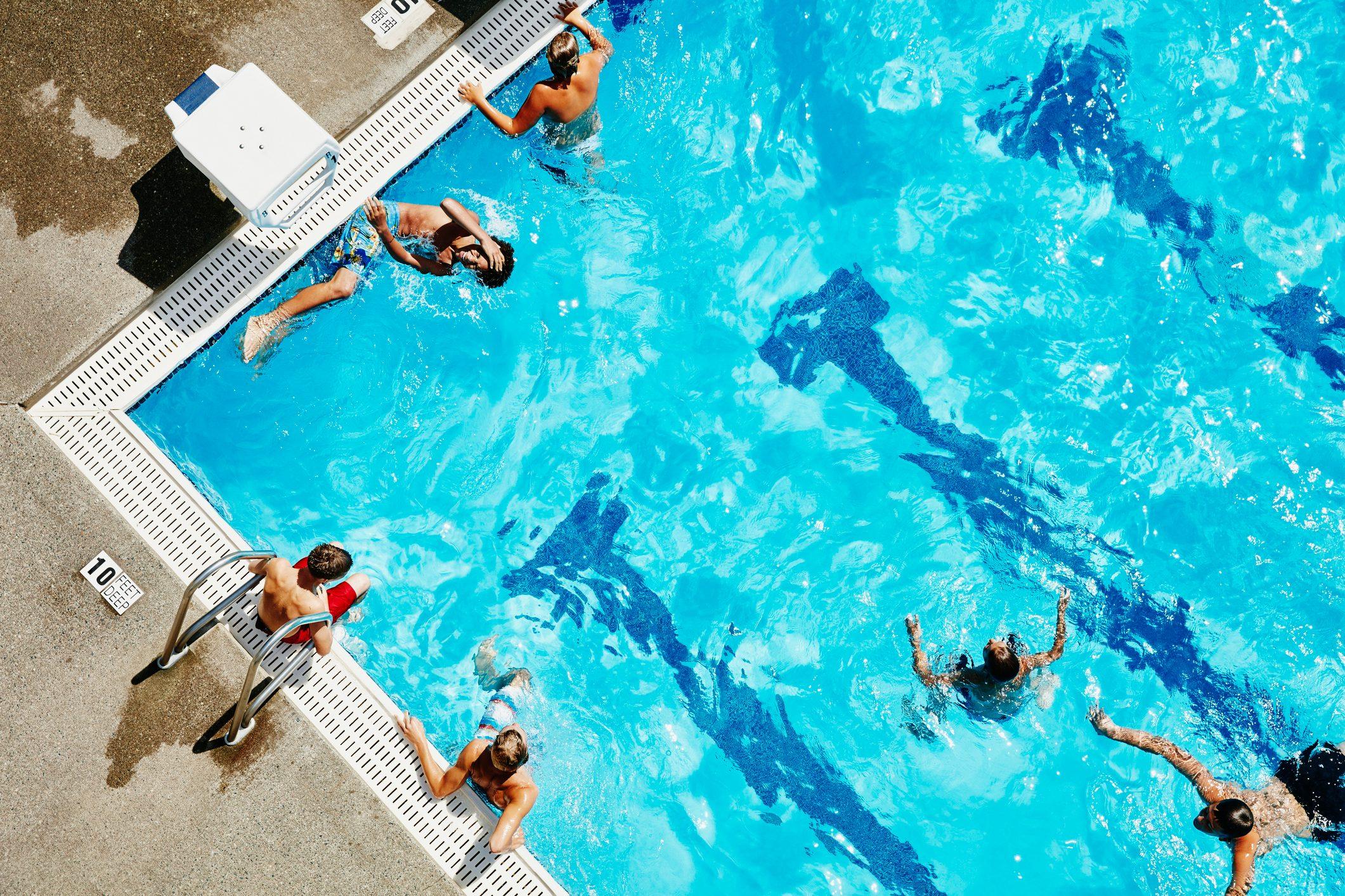 aerial shot of people in swimming pool