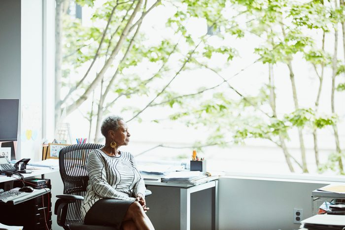 woman sitting at work