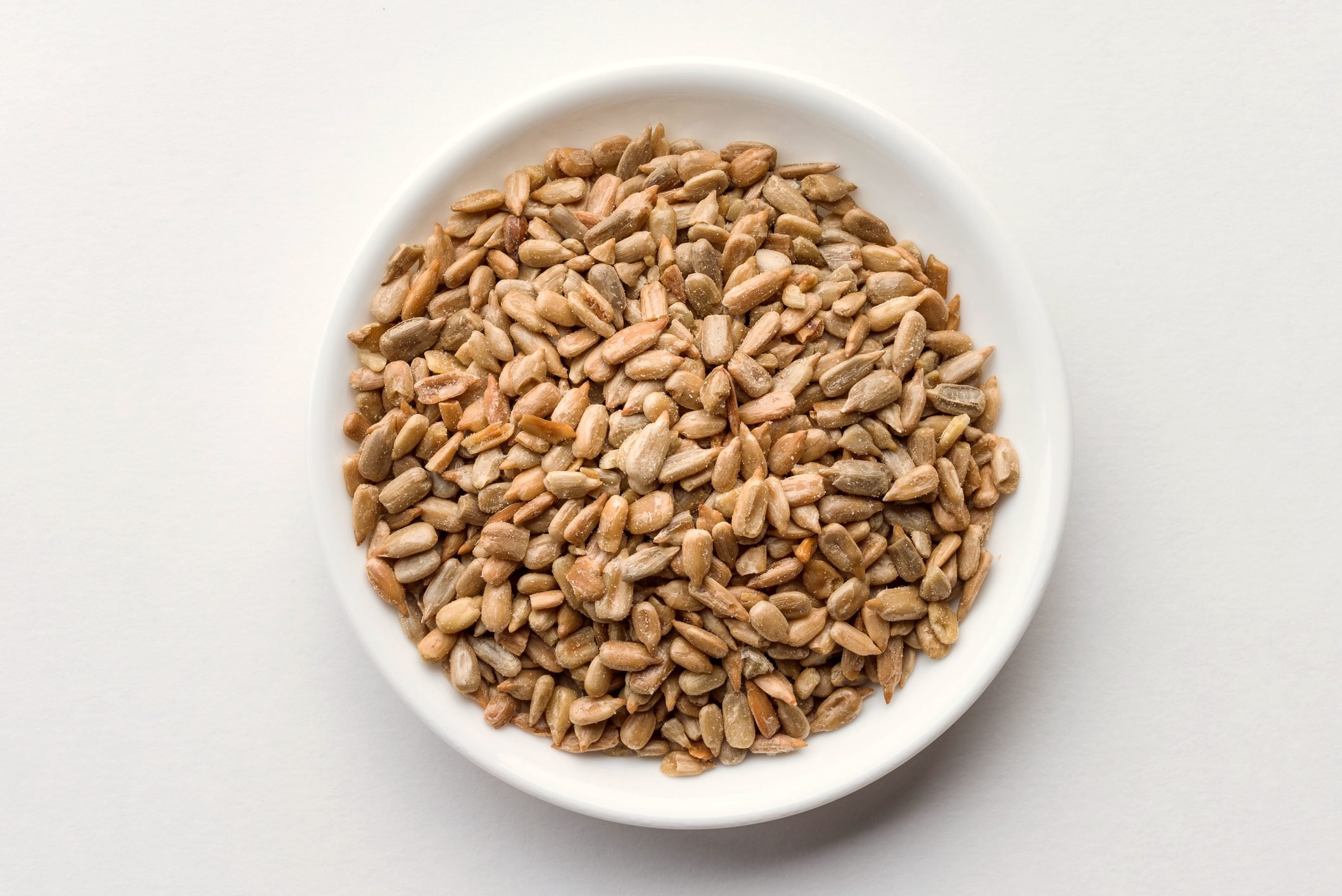 sunflower seeds in bowl shot from above