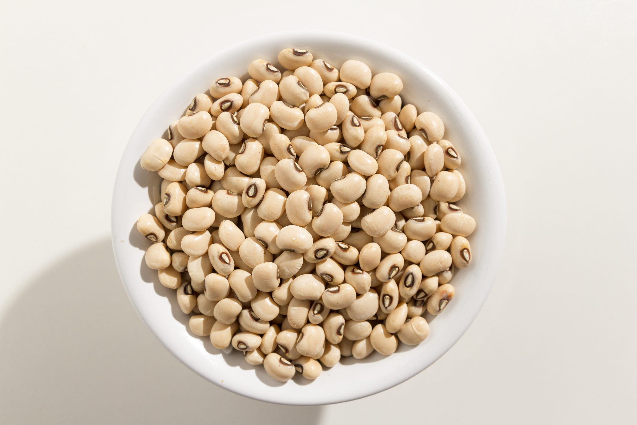 overhead shot of a bowl of beans