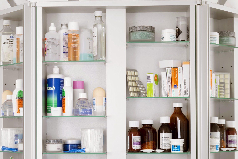medicine cabinet in bathroom